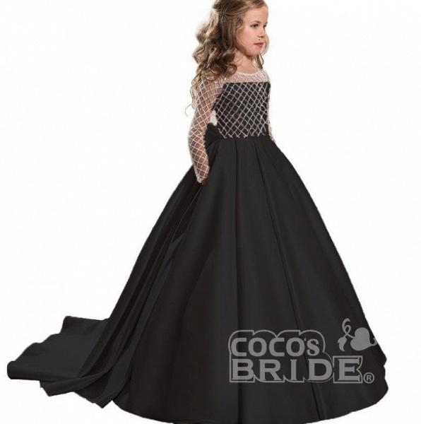 White Scoop Neck Long Sleeves Ball Gown Flower Girls Dress_10