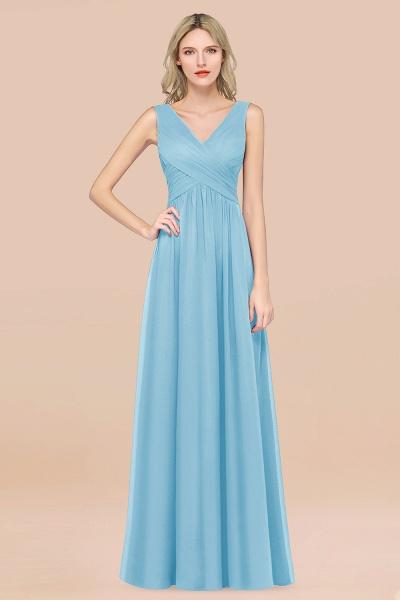 A-Line Chiffon Straps V-Neck Sleeveless Floor-Length Bridesmaid Dress with Ruffles_23