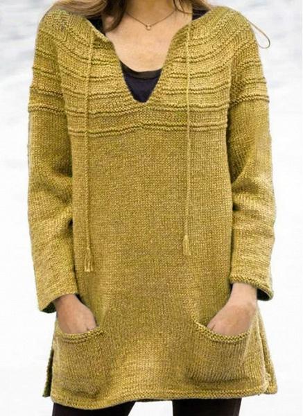 V-Neckline Solid Casual Loose Regular Pockets Sweaters_1