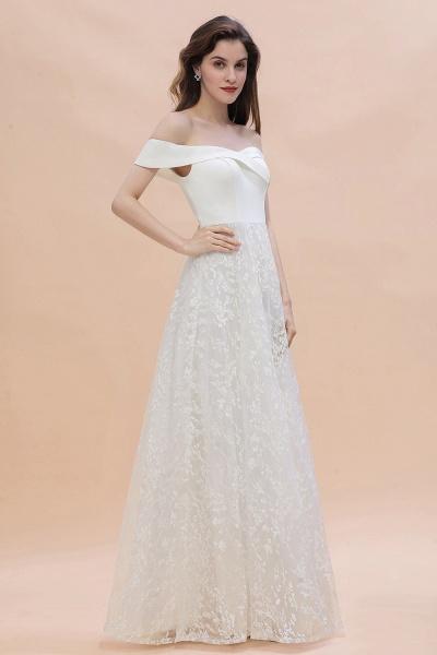 A-Line Off The Shoulder Lace Long Wedding Dress_8