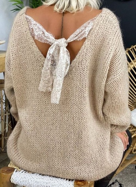 V-Neckline Solid Casual Loose Regular Lace Sweaters_3