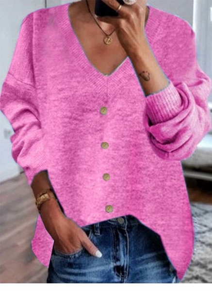V-Neckline Solid Casual Loose Shift Sweaters_1