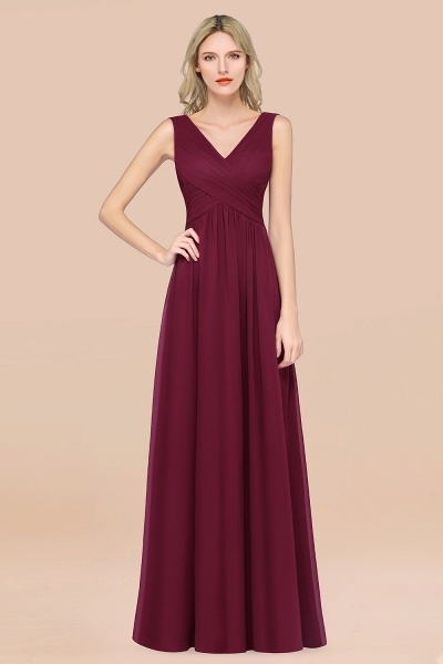 A-Line Chiffon Straps V-Neck Sleeveless Floor-Length Bridesmaid Dress with Ruffles_44