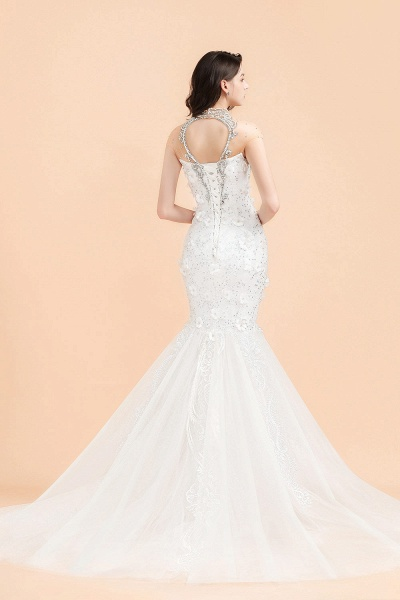 Appliques Crystal Beads Tulle Mermaid Wedding Dress_3