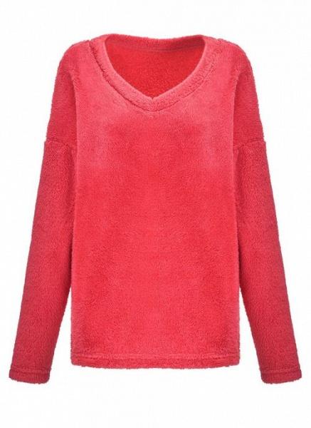 V-Neckline Solid Casual Loose Regular Shift Sweaters_4