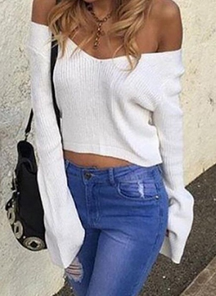 V-Neckline Solid Casual Loose Regular Shift Sweaters_1