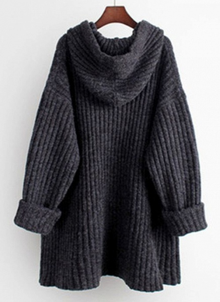 Hooded Solid Casual Loose Regular Shift Sweaters_4
