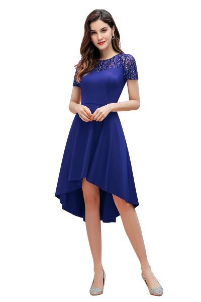 Short Sleeve Sequins Evening Hi-Lo Dress Tea Length Cocktail Dress_9