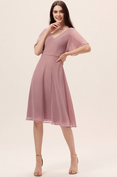 A-Line V-neck Knee-Length Chiffon Cocktail Dress With Split Front_3
