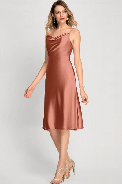 A-Line Cowl Neck Knee-Length Cocktail Dress With Split Front_4