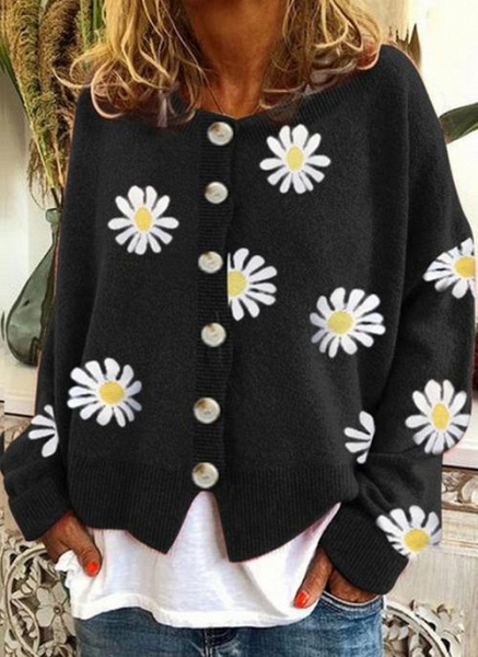 Round Neckline Floral Casual Regular Buttons Sweaters