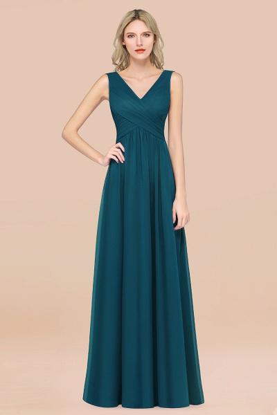 A-Line Chiffon Straps V-Neck Sleeveless Floor-Length Bridesmaid Dress with Ruffles_27