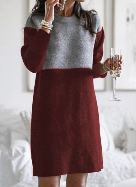 Round Neckline Color Block Casual Loose Long Shift Sweaters_1