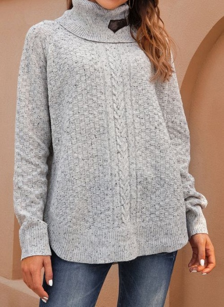 Draped Neckline Solid Casual Loose Regular Shift Sweaters_1