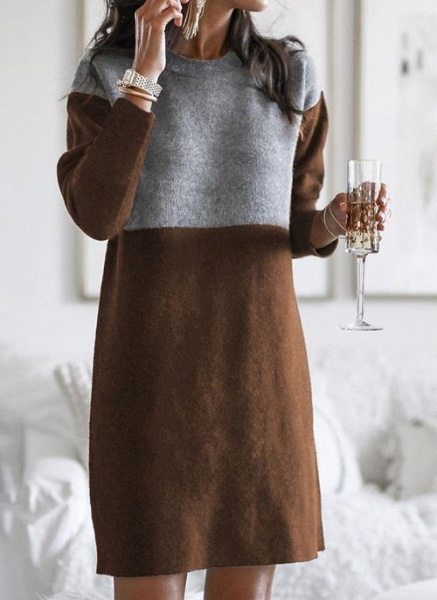 Round Neckline Color Block Casual Loose Long Shift Sweaters_5