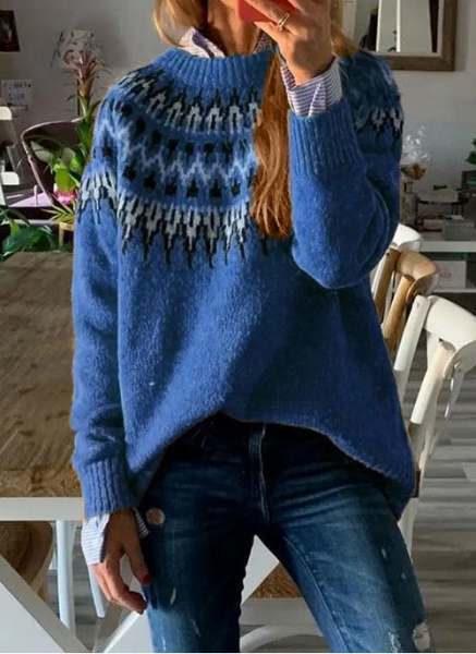 Round Neckline Geometric Vintage Loose Regular A-line Sweaters_2