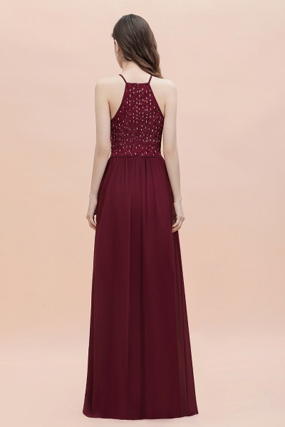 Halter Sequins A-line Chiffon Evening Dress_6
