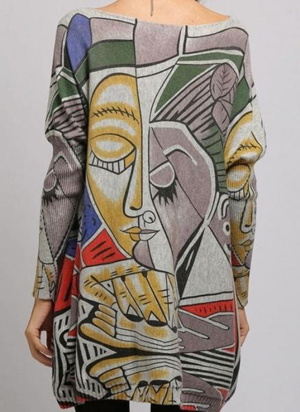 Boat Neckline Color Block Casual Loose Regular Shift Sweaters_12