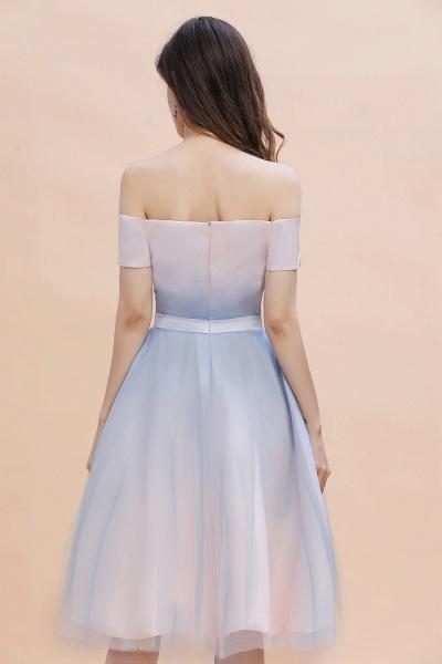 Off Shoulder Sweetheart Gradient A-line Evening Dress Tea Length_5