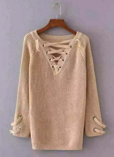 V-Neckline Solid Casual Loose Long Shift Sweaters_3