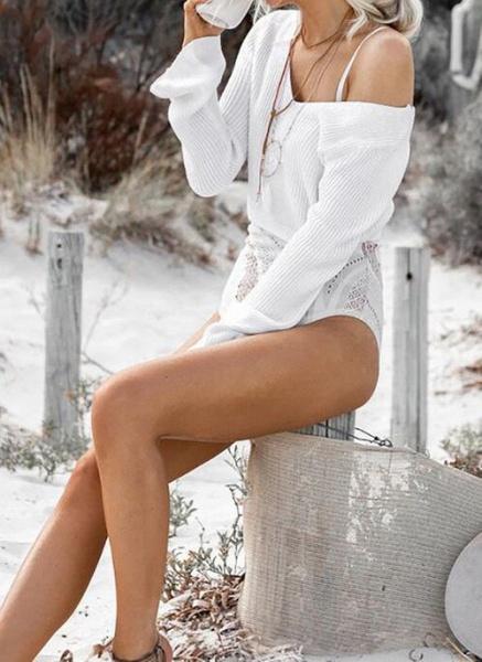 V-Neckline Solid Casual Loose Regular Shift Sweaters_3