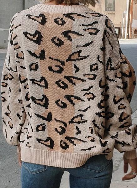 V-Neckline Leopard Elegant Loose Regular Shift Sweaters_3
