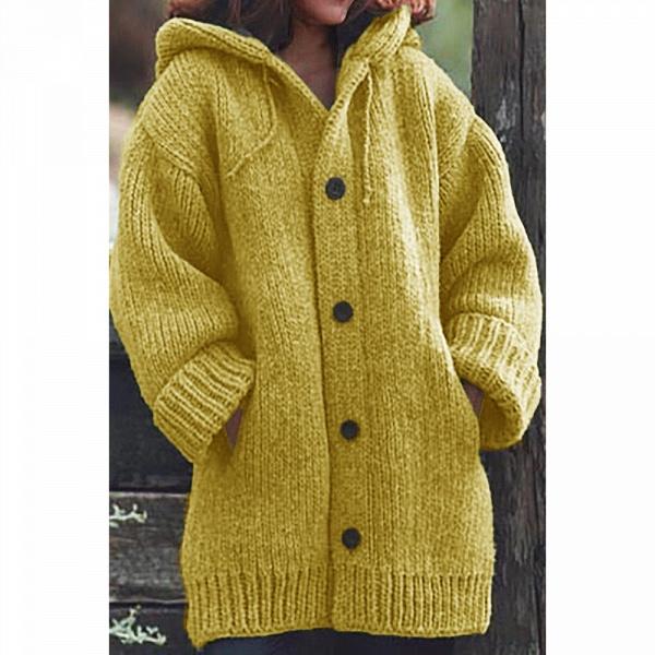 Women Long Cardigan Solid Hooded Sweater_5