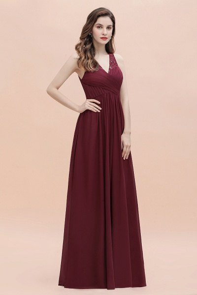 V-Neck A-line Chiffon Sleeveless Evening Maxi Dress_9