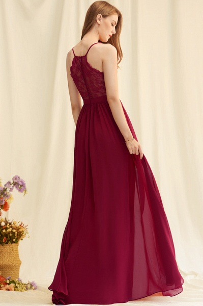 A-Line Floor-Length Chiffon Evening Dress With Lace_4