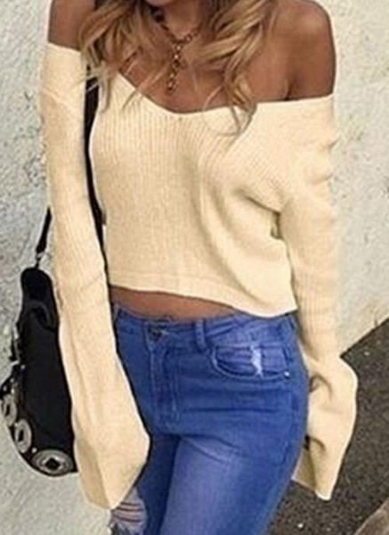 V-Neckline Solid Casual Loose Short Shift Sweaters_2