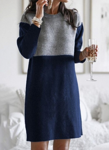 Round Neckline Color Block Casual Loose Long Shift Sweaters_2