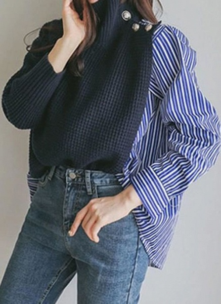 High Neckline Stripe Casual Loose Regular Buttons Sweaters_4