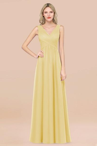 A-Line Chiffon Straps V-Neck Sleeveless Floor-Length Bridesmaid Dress with Ruffles_18