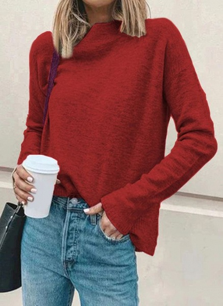 Round Neckline Solid Casual Loose Regular Shift Sweaters_1