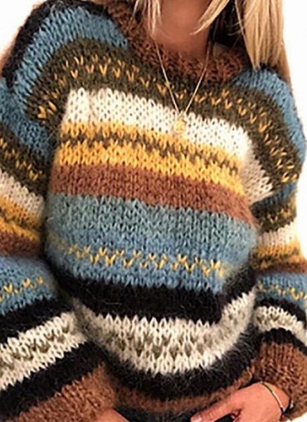 Round Neckline Stripe Casual Loose Regular Shift Sweaters_1