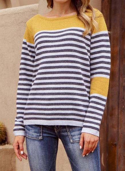 Boat Neckline Stripe Casual Loose Regular Shift Sweaters_3