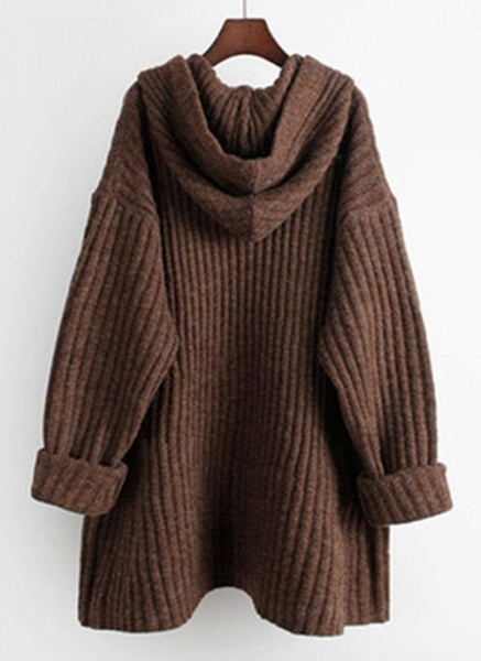 Hooded Solid Casual Loose Regular Shift Sweaters_6