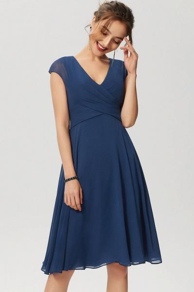 Simple A-Line Knee-Length Chiffon Cocktail Dress With Ruffle_3