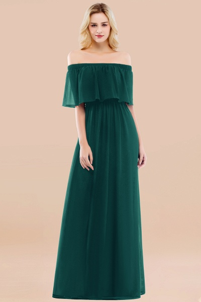 A-line Chiffon Off-the-Shoulder Short-Sleeves Ruffles Floor-length Bridesmaid Dress_33
