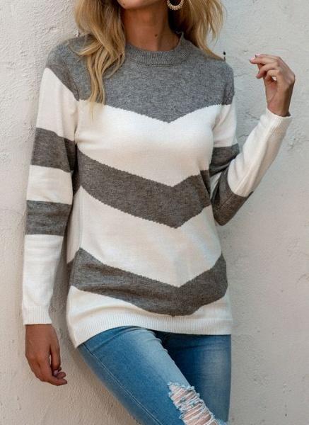 Round Neckline Color Block Casual Loose Regular Shift Sweaters_9