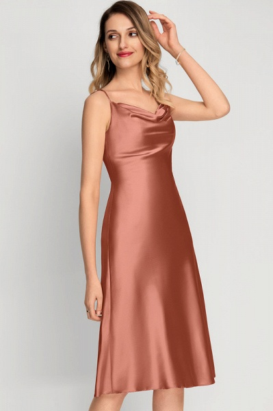 A-Line Cowl Neck Knee-Length Cocktail Dress With Split Front_1