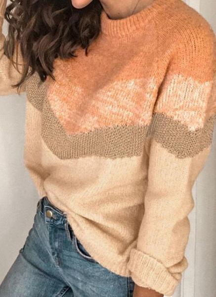Round Neckline Color Block Casual Loose Regular Shift Sweaters_3