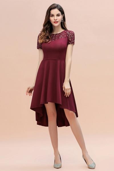 Short Sleeve Sequins Evening Hi-Lo Dress Tea Length Cocktail Dress_5