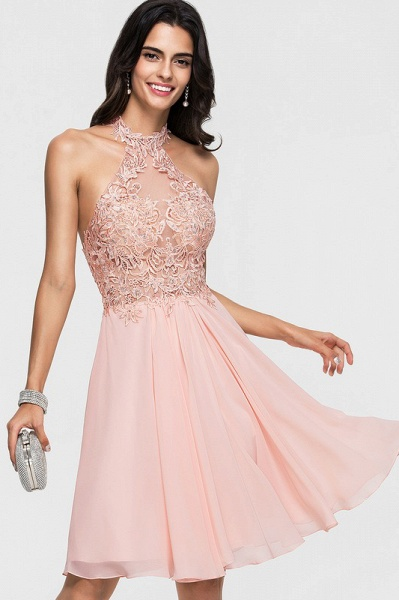A-Line Halter Knee-Length Chiffon Homecoming Dress With Lace Beading_4