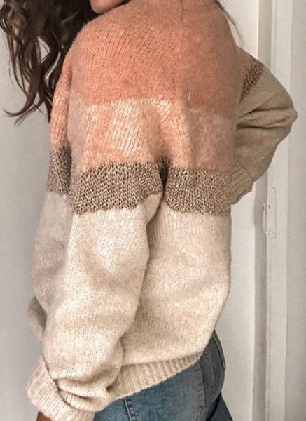 Round Neckline Color Block Casual Loose Regular Shift Sweaters_7