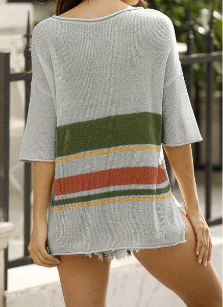 V-Neckline Stripe Elegant Loose Regular Shift Sweaters_7