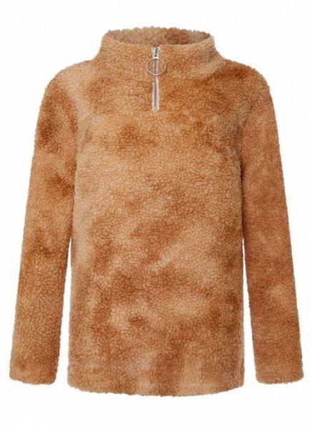 High Neckline Color Block Casual Loose Regular Zipper Sweaters_3