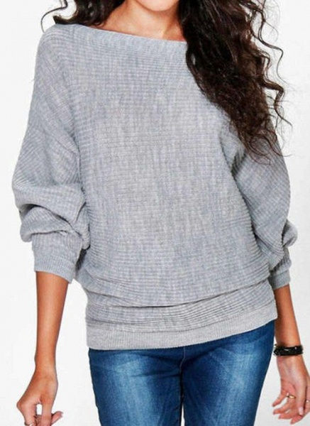 Boat Neckline Solid Casual Loose Regular Shift Sweaters_3