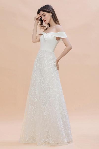 A-Line Off The Shoulder Lace Long Wedding Dress_9