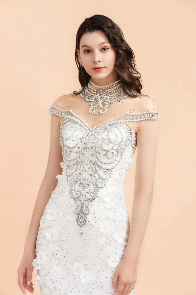 Appliques Crystal Beads Tulle Mermaid Wedding Dress_4